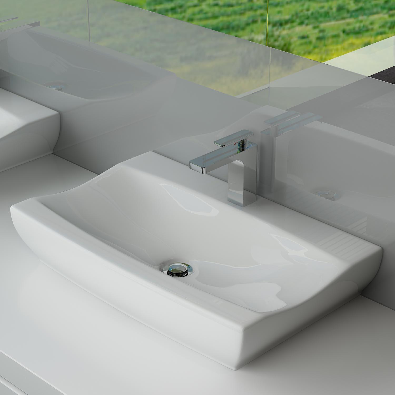 DESIGN KERAMIK WASCHTISCH WASCHBECKEN WASCHPLATZ BADEZIMMER GÄSTE WC  WANDMONTAGE