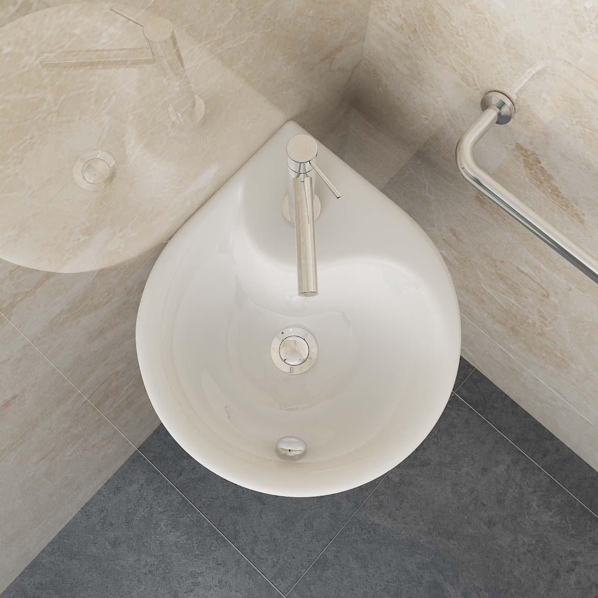 design keramik aufsatz h nge waschbecken ecke wandmontage badezimmer g ste wc 81 ebay. Black Bedroom Furniture Sets. Home Design Ideas
